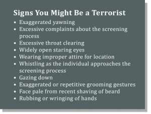 Signs You Might Be a Terrorist - Examples from SPOT Referral Report (The Intercept)