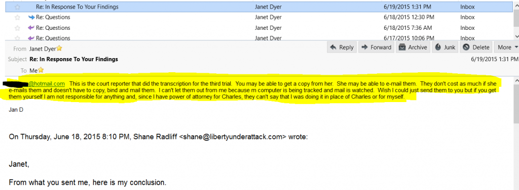 Email from Janet - They Have the Transcripts
